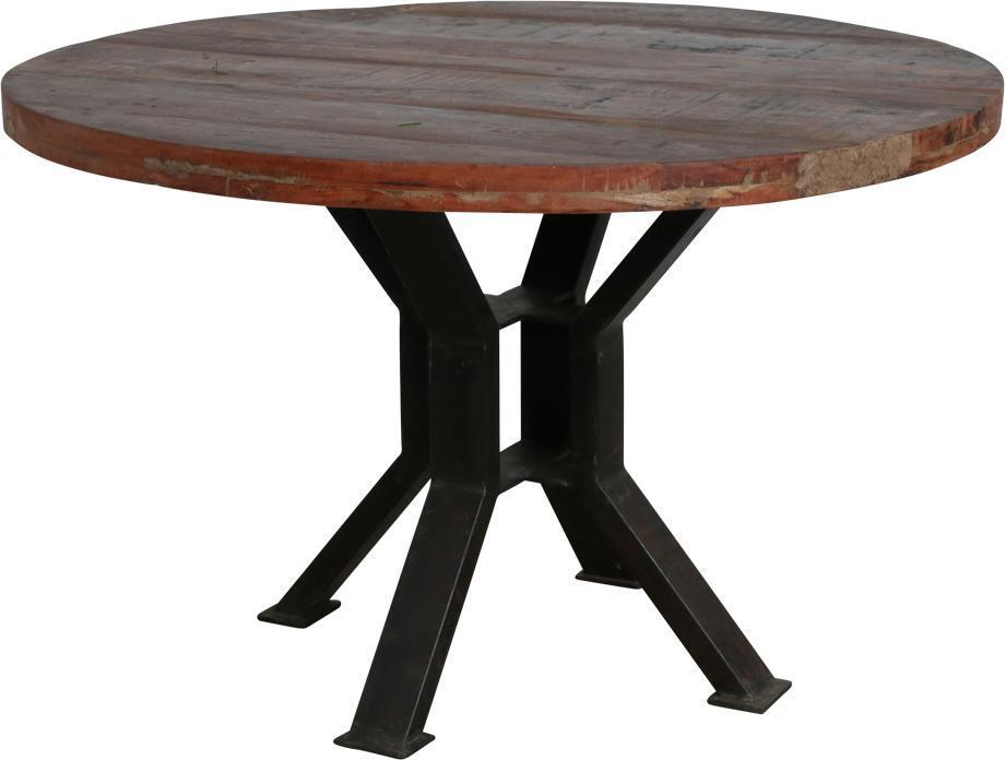 Eettafel factory rond 120 cm gerecycled teakhout one world interiors